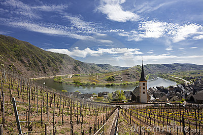 Bremm,Mosel River Bow,Germany Stock Photo.