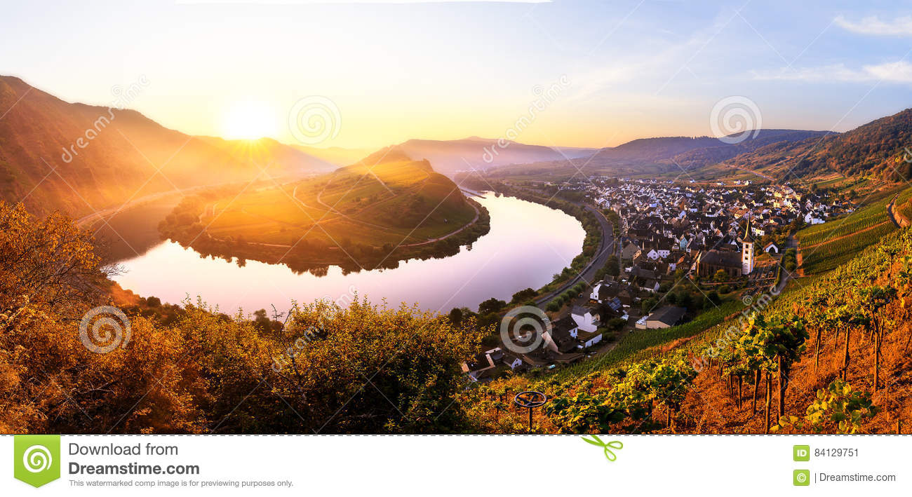 Moselle River Bend Stock Photo.