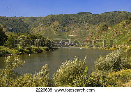 Pictures of River passing through hilly landscape, Moselle River.