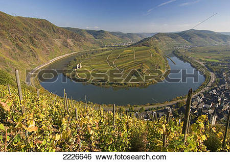 Stock Images of High angle view of river bend, Moselle River.