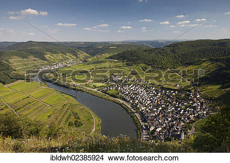 """Stock Photo of """"View of the town of Bremm in the Moselle valley."""