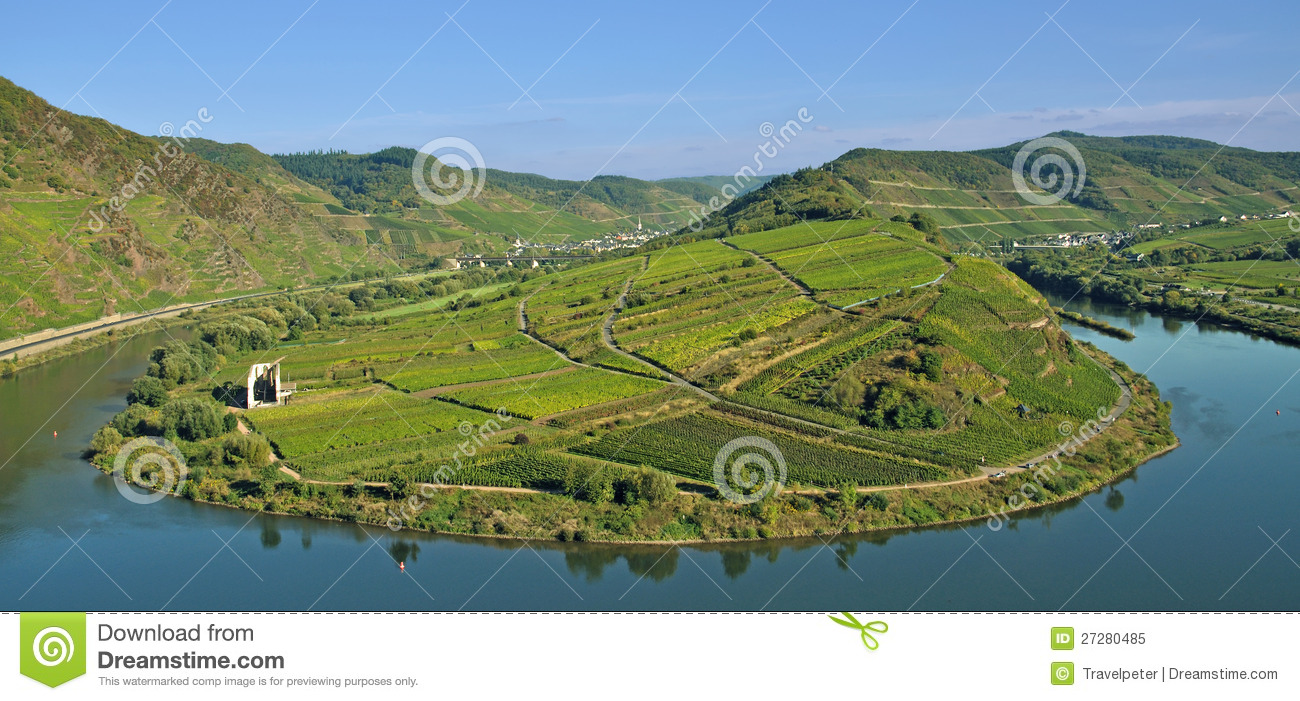 Bremm,Mosel River Bend,germany Royalty Free Stock Photo.