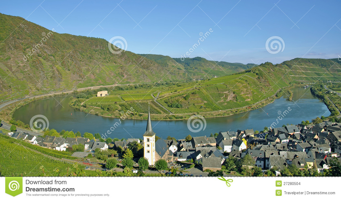 Bremm,Mosel River Bend,germany Stock Images.