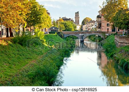 Stock Photo of view of bridge Brenta River in Padua city, Italy.