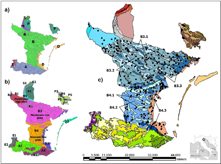 Soil map of the Venice lagoon watershed: (1.a) landscape.