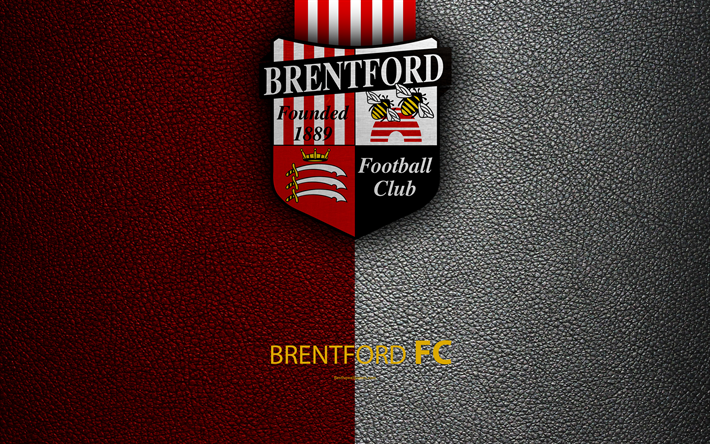 Download wallpapers Brentford FC, 4K, English Football Club, logo.