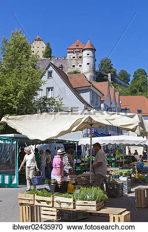 "Stock Photography of ""Weekly farmers' market, Schloss Hellenstein."