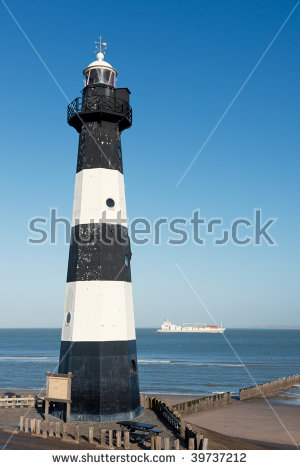 Day View Old Lighthouse On Rock Stock Illustration 115012798.
