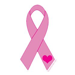 Pink Ribbon with Heart Clip Art.