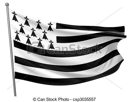 Illustrations de national, drapeau, bretagne.