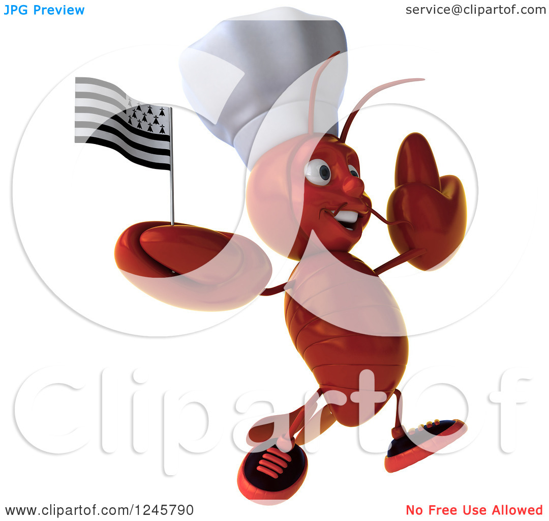 Clipart of a 3d Jumping Chef Lobster Holding a Breton Flag.