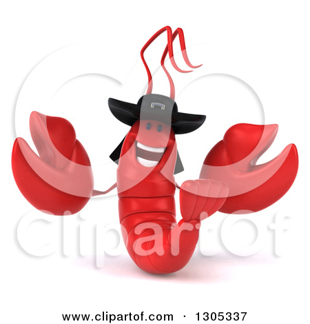 Clipart of a 3d Happy Breton Lobster Facing Left and Presenting.