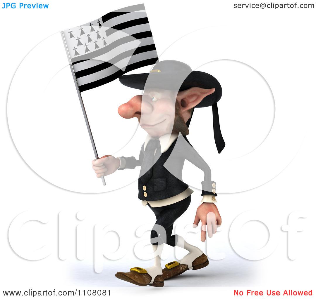 Clipart 3d Korrigan Dwarf Holding A Breton Flag 2.