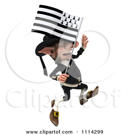 Clipart of a 3d Korrigan Dwarf Jumping with a Breton Flag.