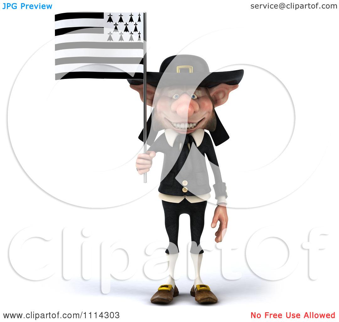 Clipart 3d Korrigan Dwarf With A Breton Flag 1.