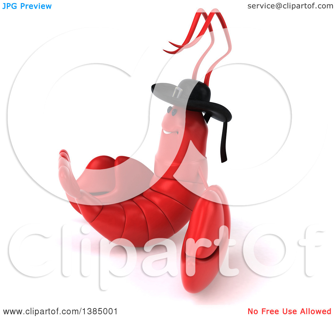 Clipart of a 3d Breton Lobster, on a White Background.