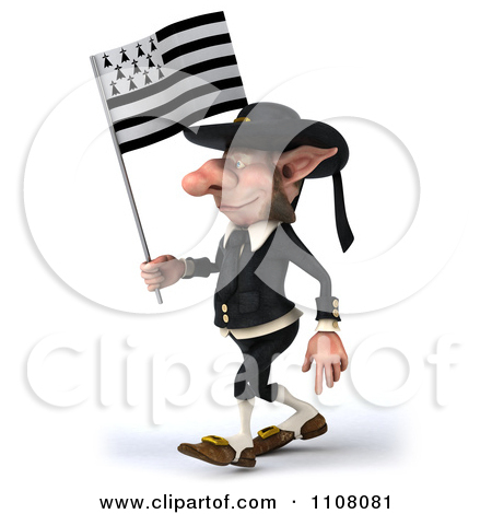 Clipart 3d Korrigan Dwarf Holding A Breton Flag 6.