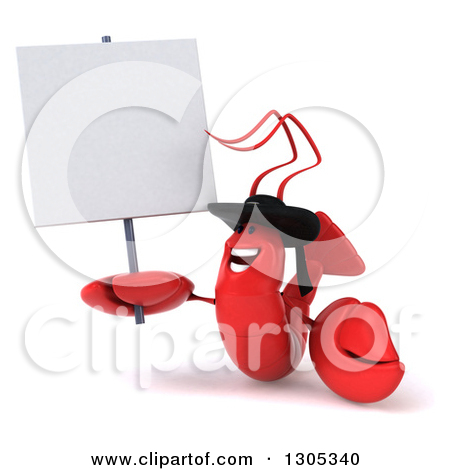 Clipart of a 3d Happy Welcoming Breton Lobster.