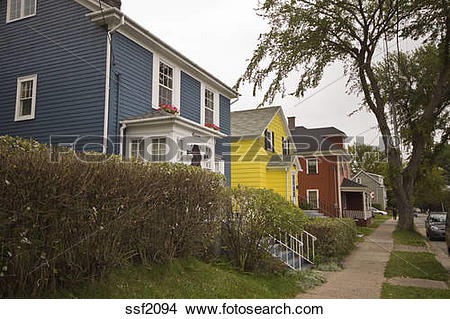 Stock Photo of Colorful heritage homes in Sydney, Cape Breton.