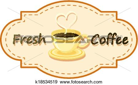 Clip Art of A fresh coffee logo with a cup of brewed coffee.