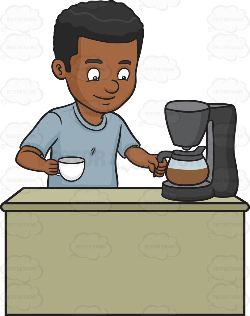 A Black Man Getting A Cup Of Freshly Brewed Coffee Cartoon Clipart.