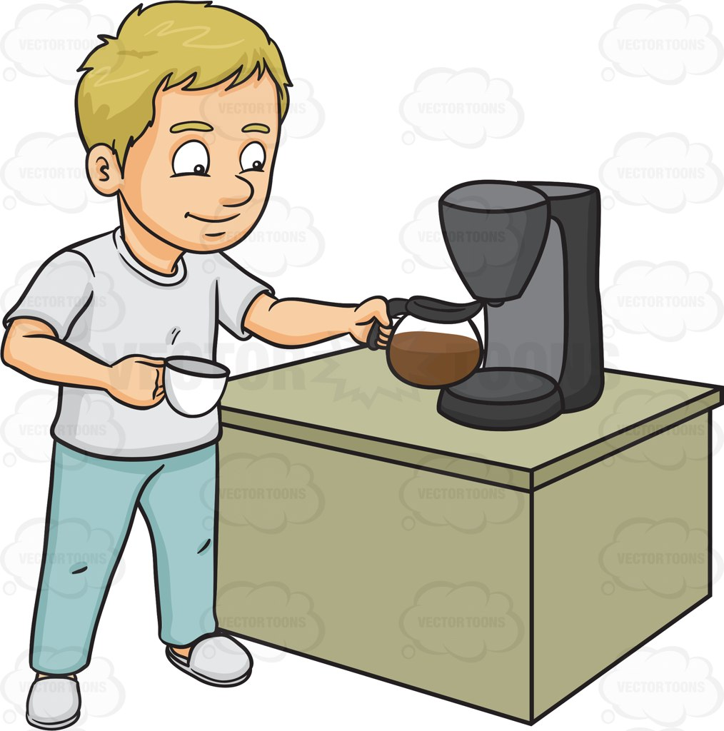 A Man Getting A Cup Of Freshly Brewed Coffee Cartoon Clipart.