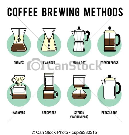 Vector Clip Art of Coffee brewing methods icons set. Different.