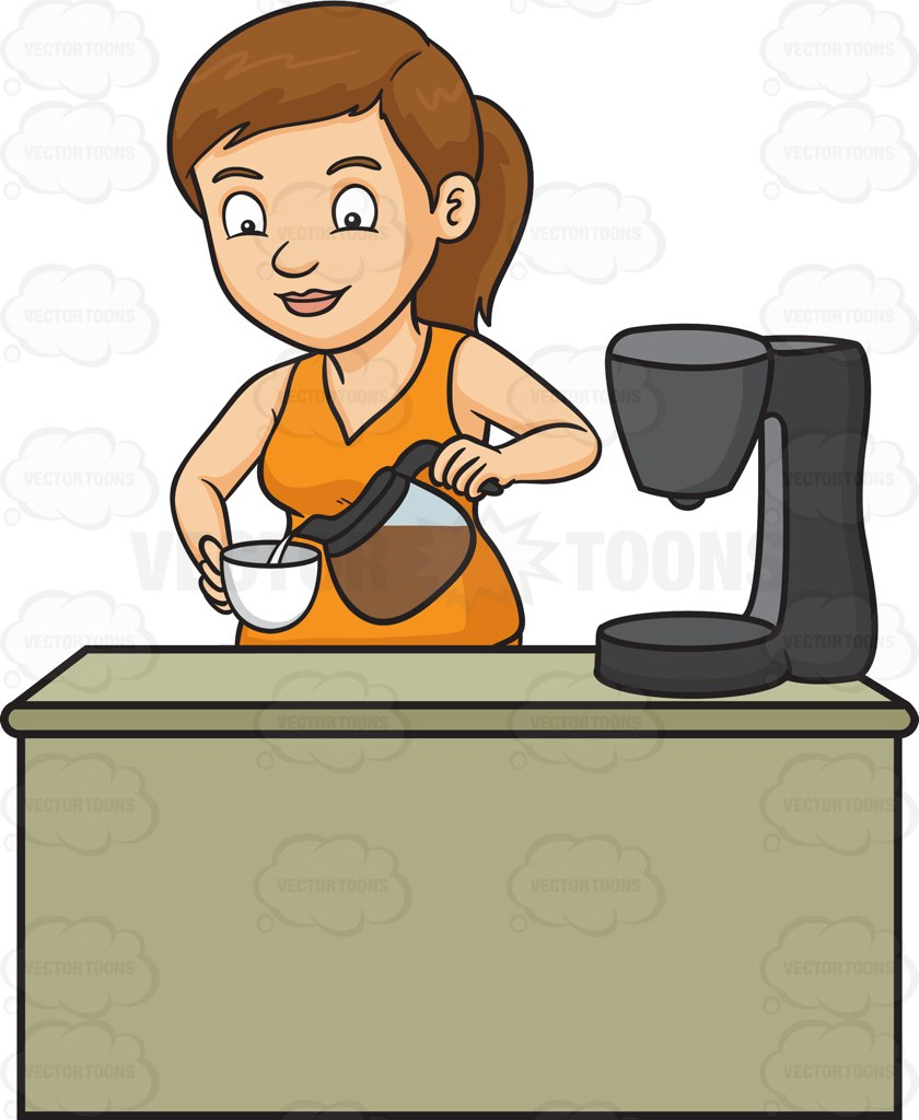 A Woman Pouring A Cup Of Freshly Brewed Coffee Cartoon Clipart.