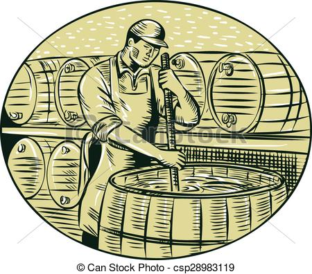 Vector Clip Art of Brewer Brewing Beer Etching.