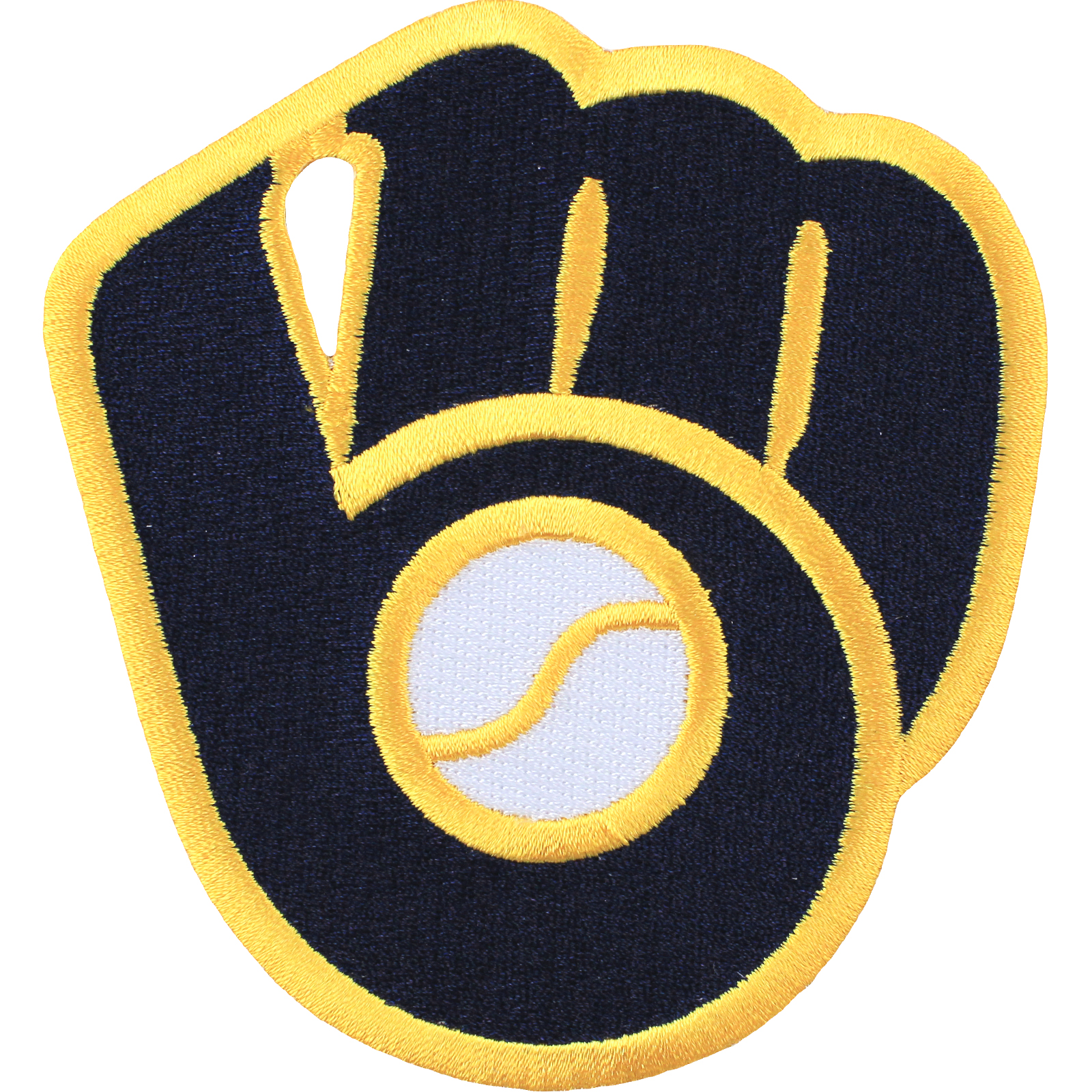 Details about Milwaukee Brewers Ball & Glove Alternative Blue Gold  Throwback Embroidered Patch.