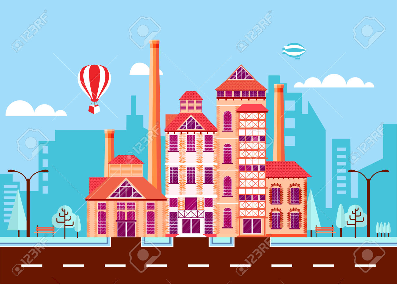 Stock Vector Illustration City Street With Stone Brewery, Old.