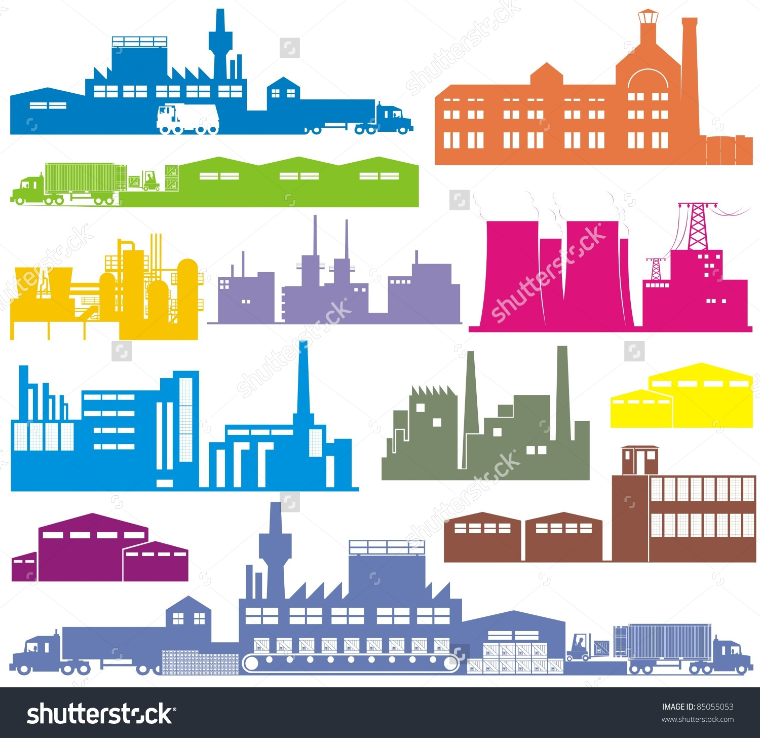 Factory Brewery Power Plantstation Warehouse Refinery Stock Vector.
