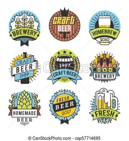 Vector Line Art Badge. Craft Beer Logo. Vintage Label for Brew House or  Pub. Retro Brewery Template and Design Element..