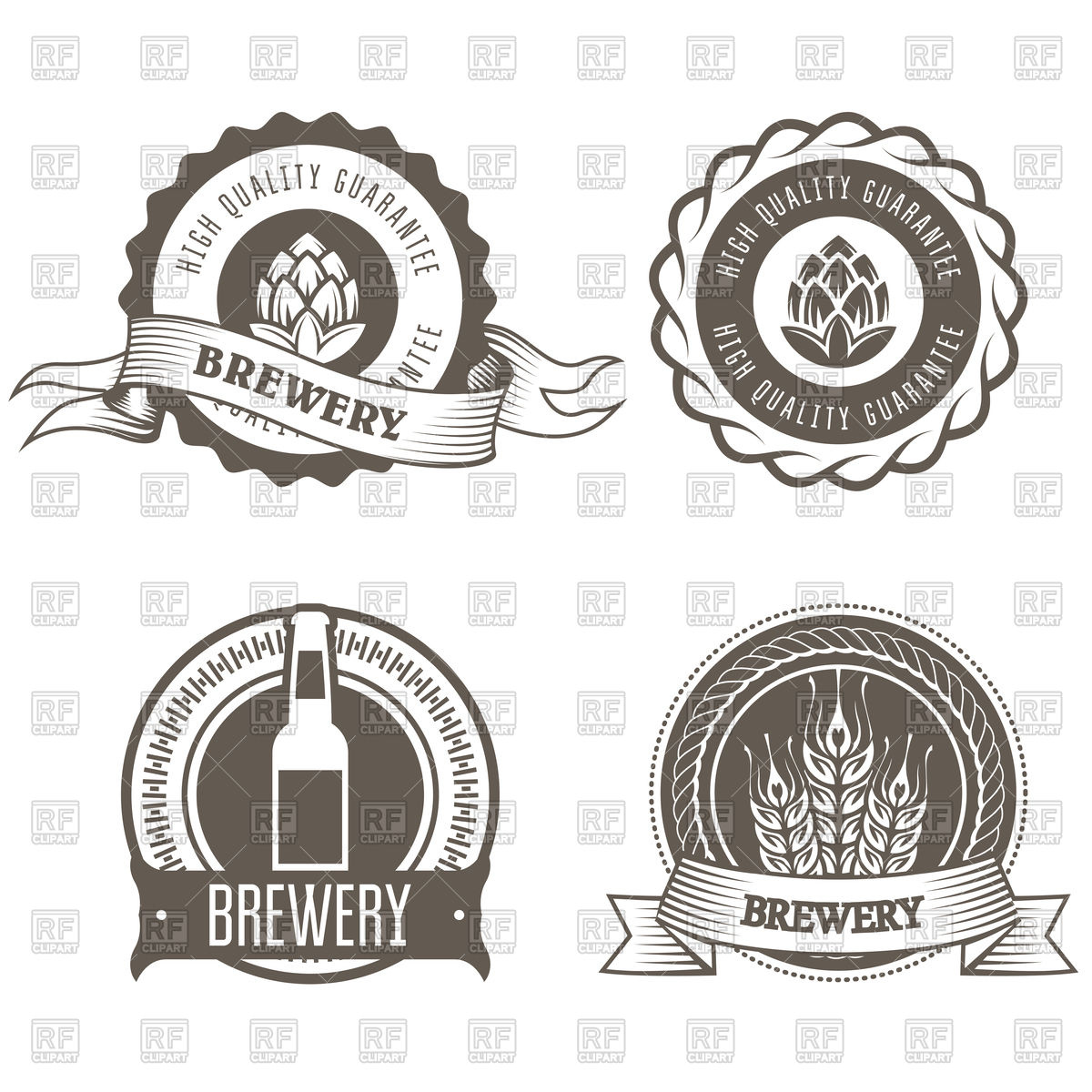 Beer and brewery emblems with hop buds Stock Vector Image.