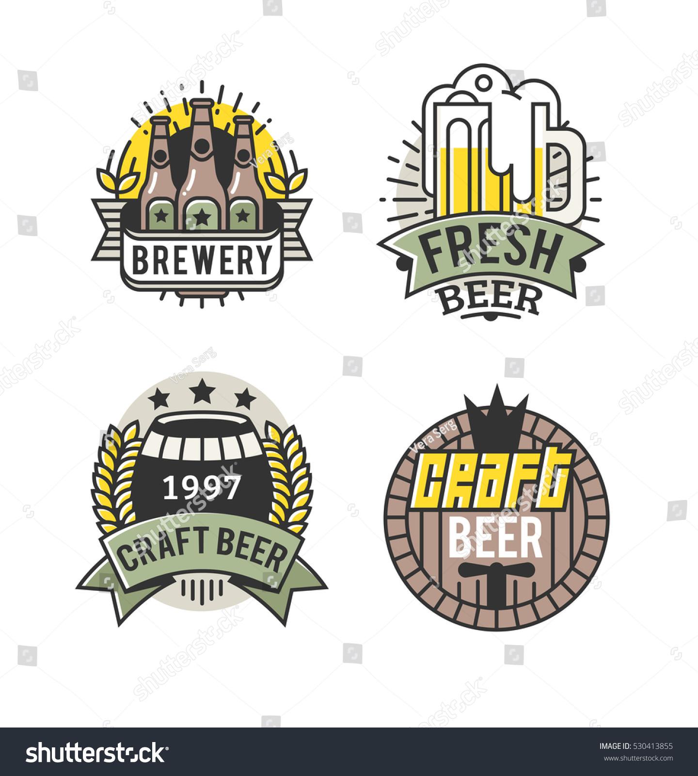 Vector Line Art Badge Craft Beer Stock Vector (Royalty Free) 530413855.
