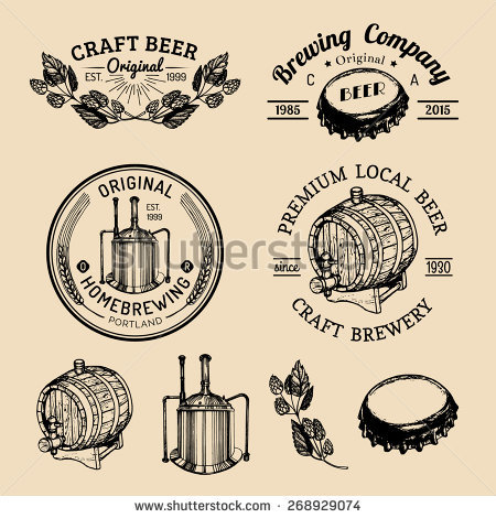 Vector Set Vintage Brewery Hand Sketched Stock Vector 328988909.