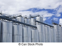 Stock Photos of brewery tanks blue sky big containers beer.