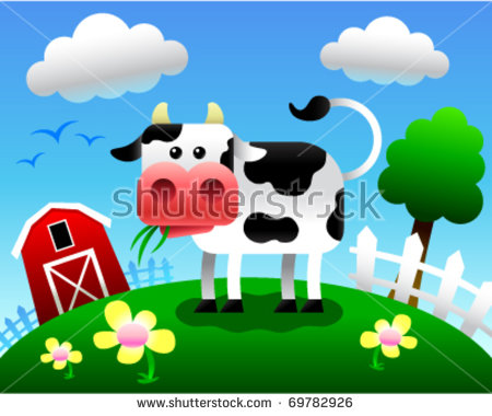 Vector Illustration Cartoon Cow Eating Grass Stock Vector 69782926.