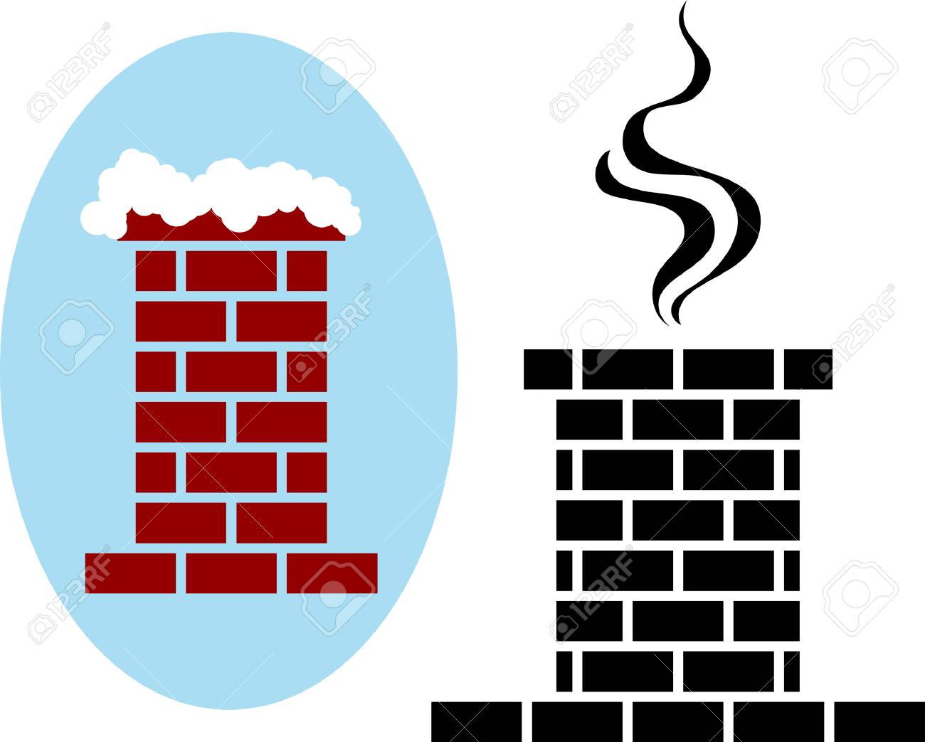 Brick Chimney Icon with Snow and Smoke Vector Illustration.