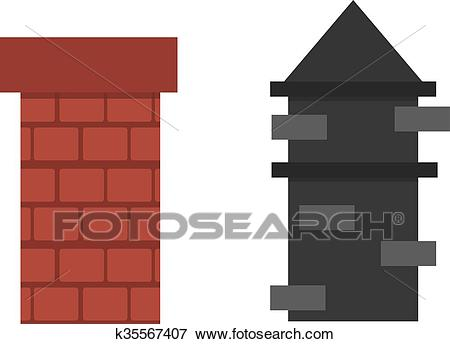 Two old red brown brick chimney roof architecture top smoke vector. Clip Art.