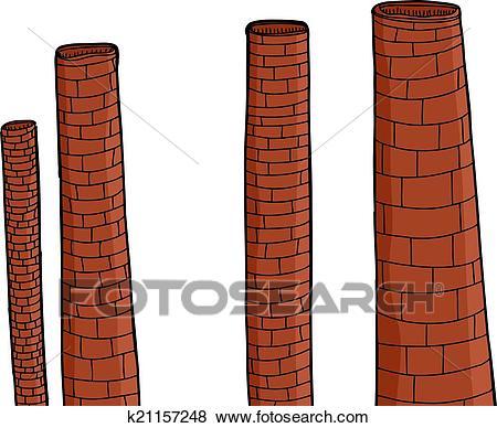 Old Brick Chimneys Clip Art.