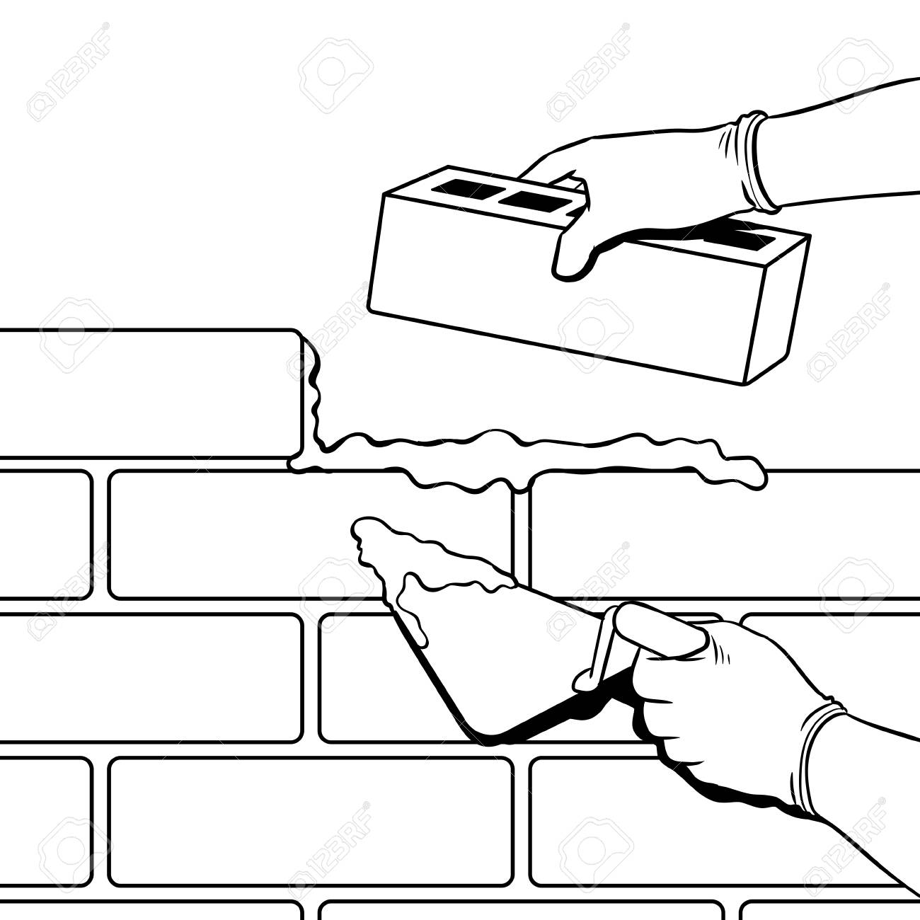 Brick wall building process coloring vector illustration. Isolated...