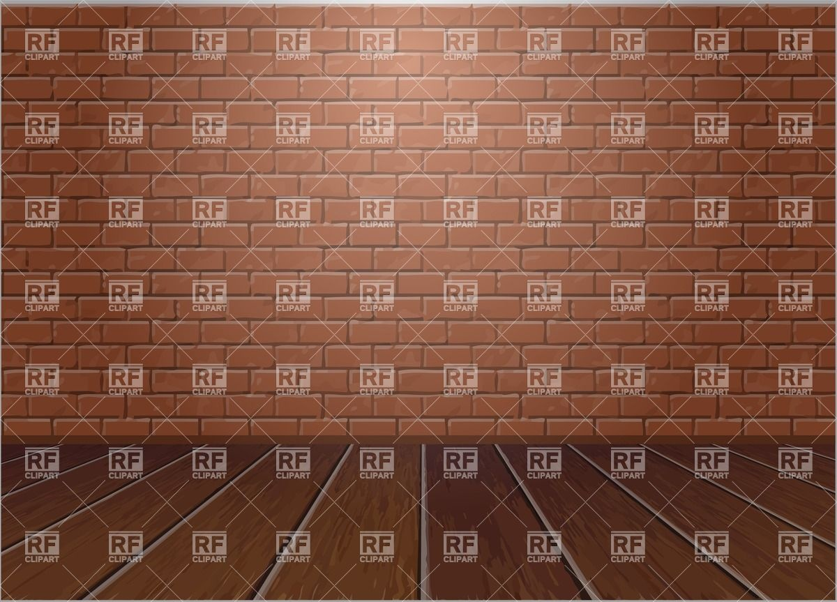 Wooden floor and brick wall Vector Image #25702.