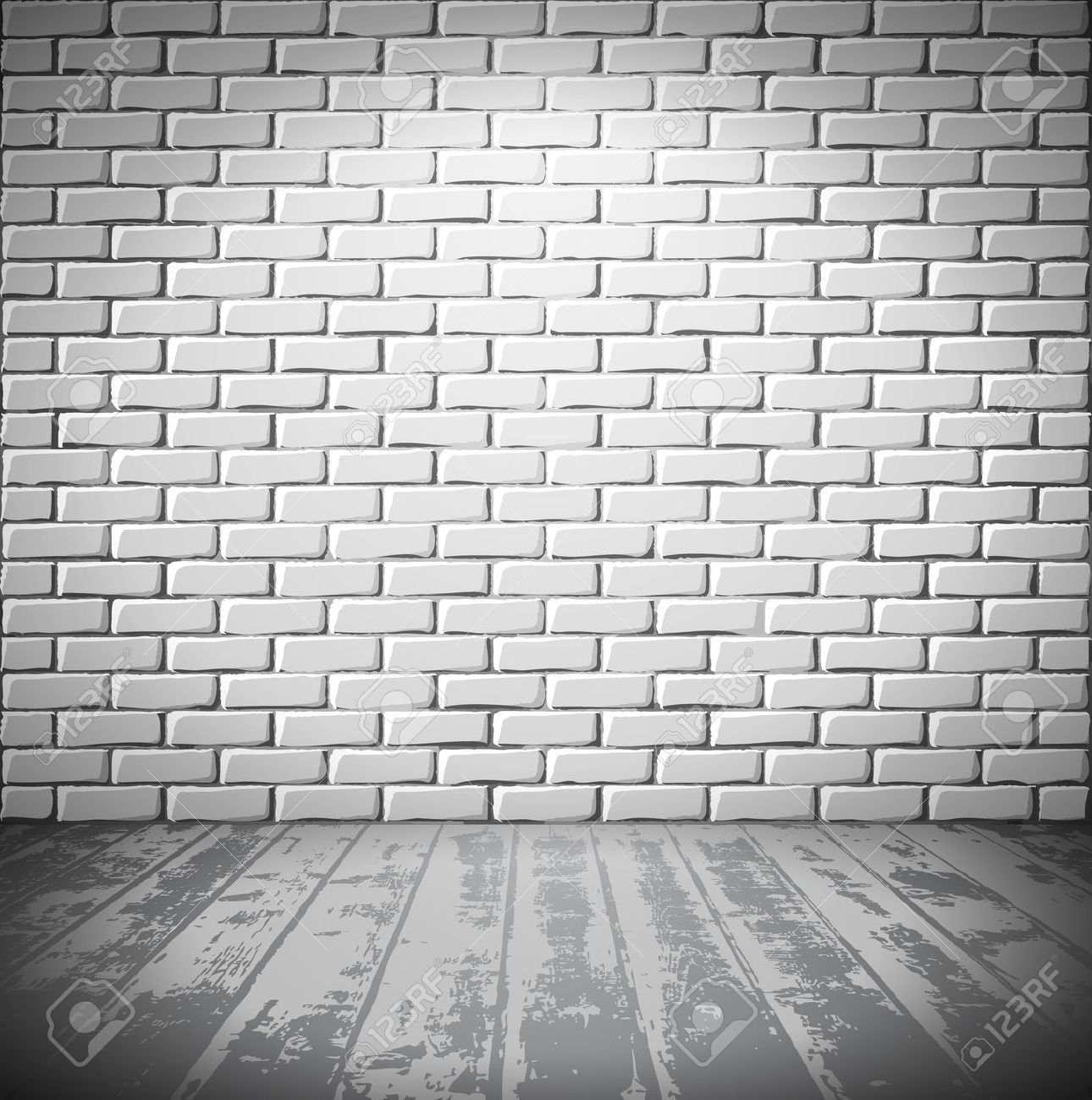 White Brick Room With Wooden Floor Royalty Free Cliparts, Vectors.