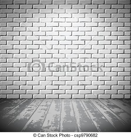 Vector Illustration of White brick room with wooden floor.