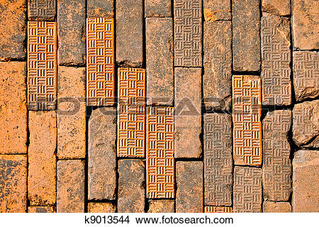 Stock Photo of The Old brown brick on floor ground k9013544.