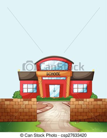 Vector Illustration of School ground with brick wall and lawn.