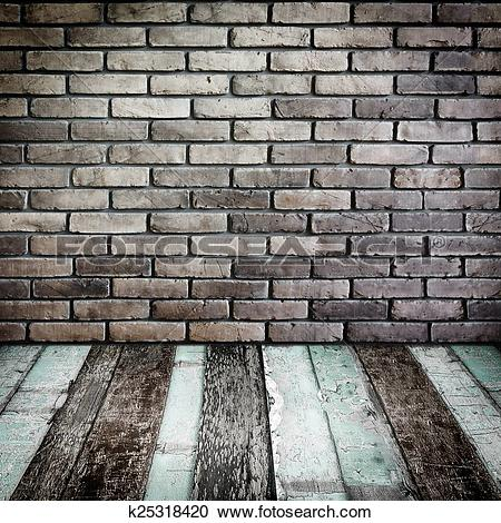 Stock Photography of Room perspective,Grunge Brick wall and wood.