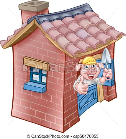 Three Little Pigs Fairy Tale Brick House.
