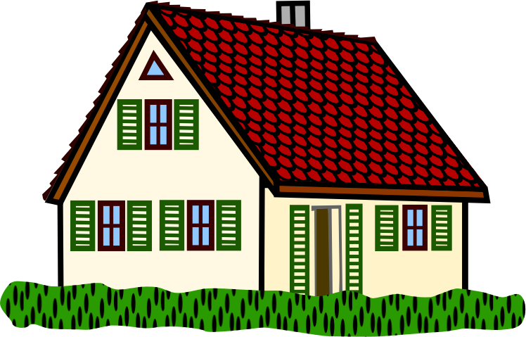 Free Brick House Clipart Image.